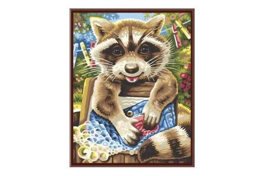 Раскраска по номерам Fresh Art Енот полоскун GX6329, 40 ...