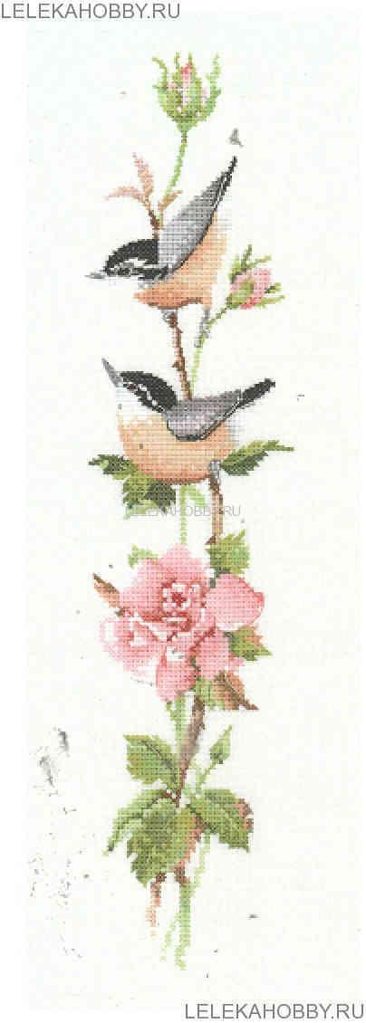 Вышивка крестом птицы на цветах 979