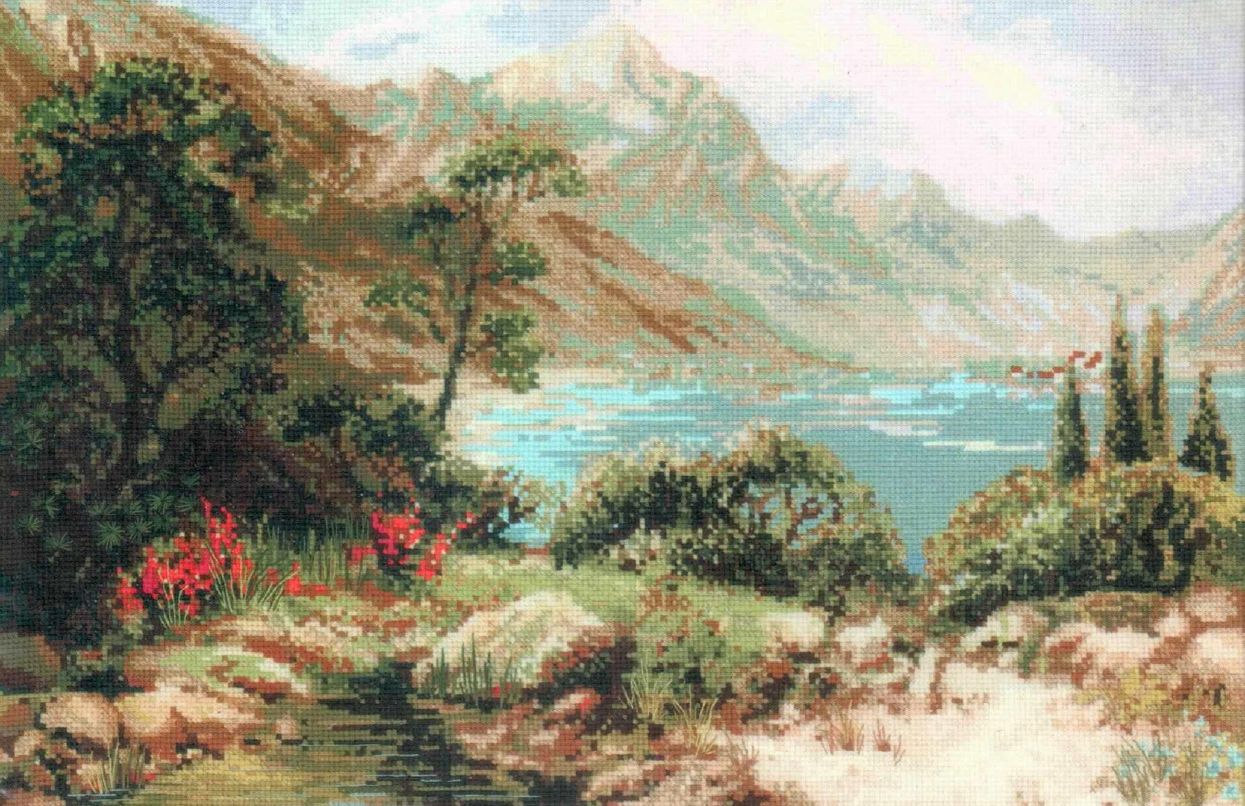 Вышивка крестом риолис водопады