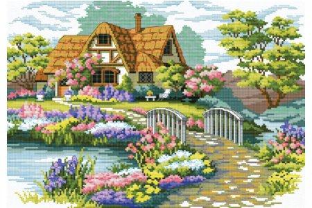 Вышивка крестом пейзаж домик 72