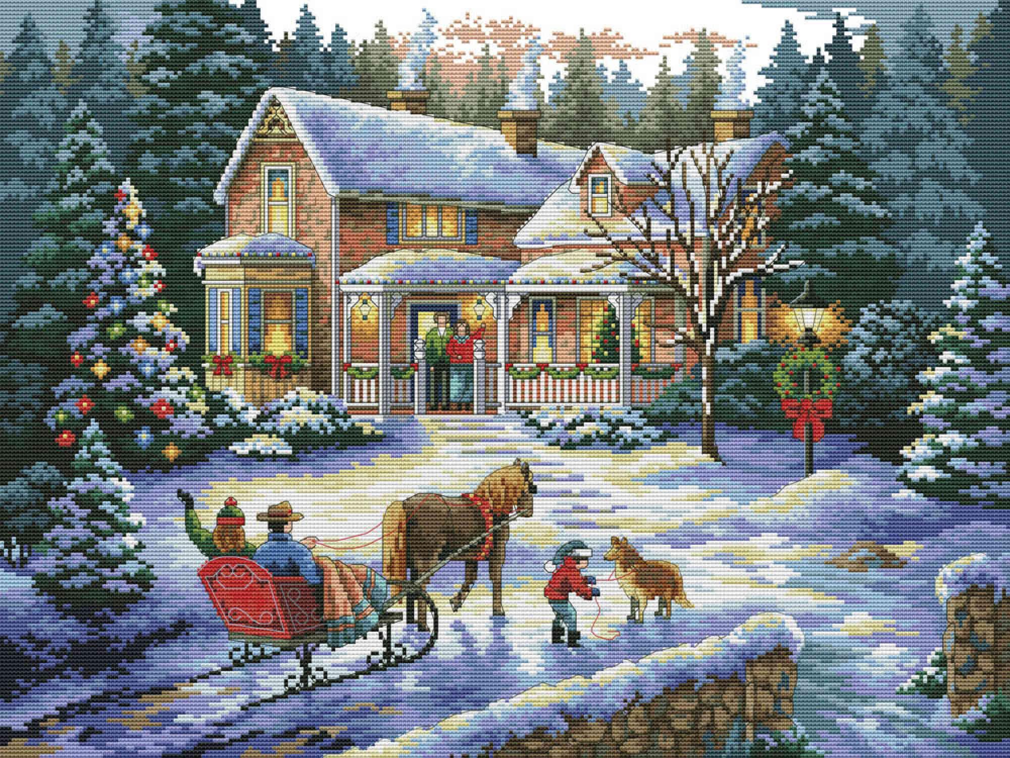 Рождество готовая вышивка