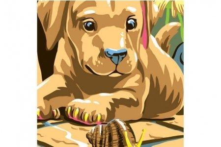 Раскраска по номерам БЕЛОСНЕЖКА Улитка и щенок, 30*40см ...