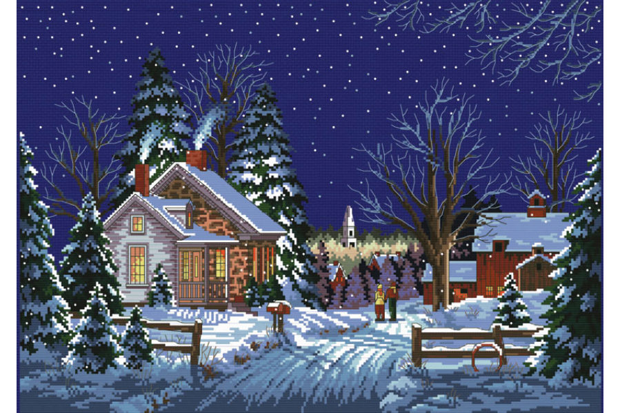 Вышивка картина зимний вечер 97