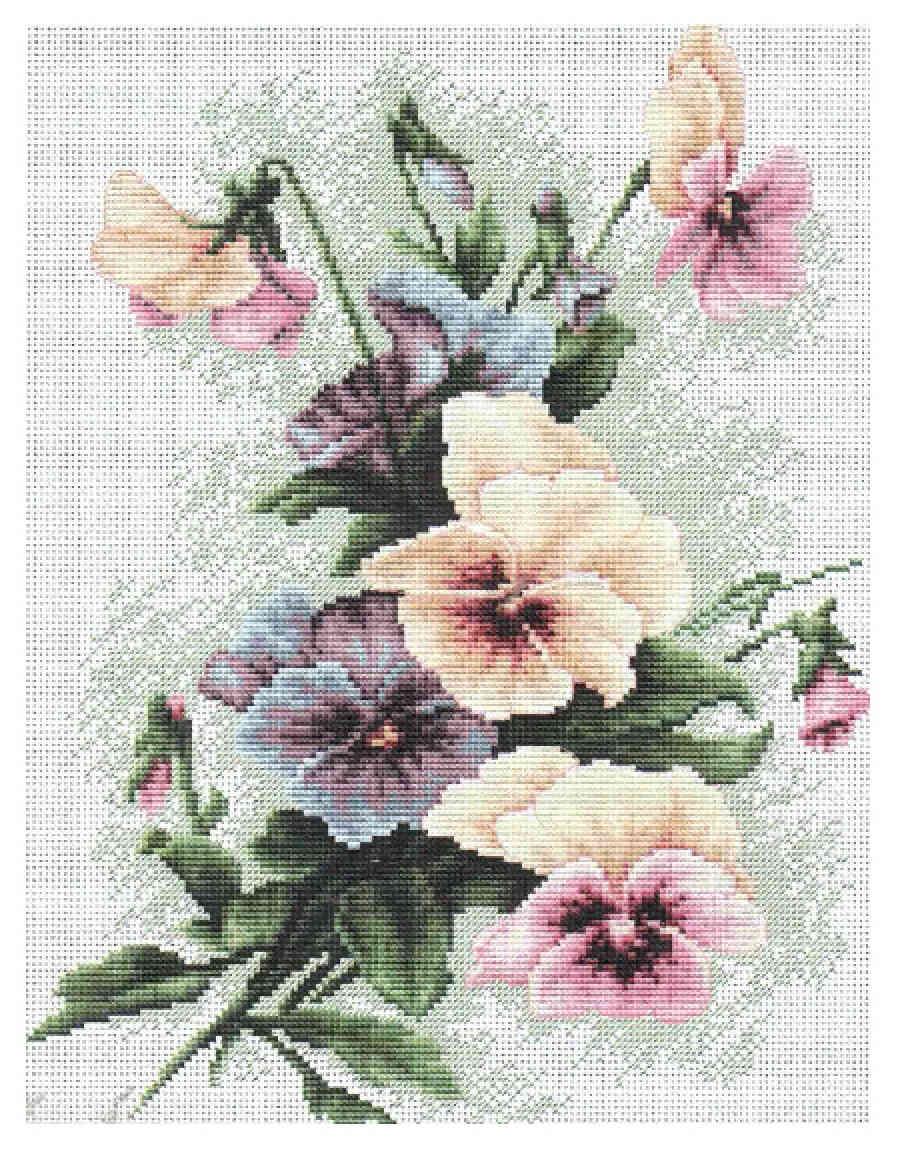 схема вышивки рлзовый тюльпан от ланарте