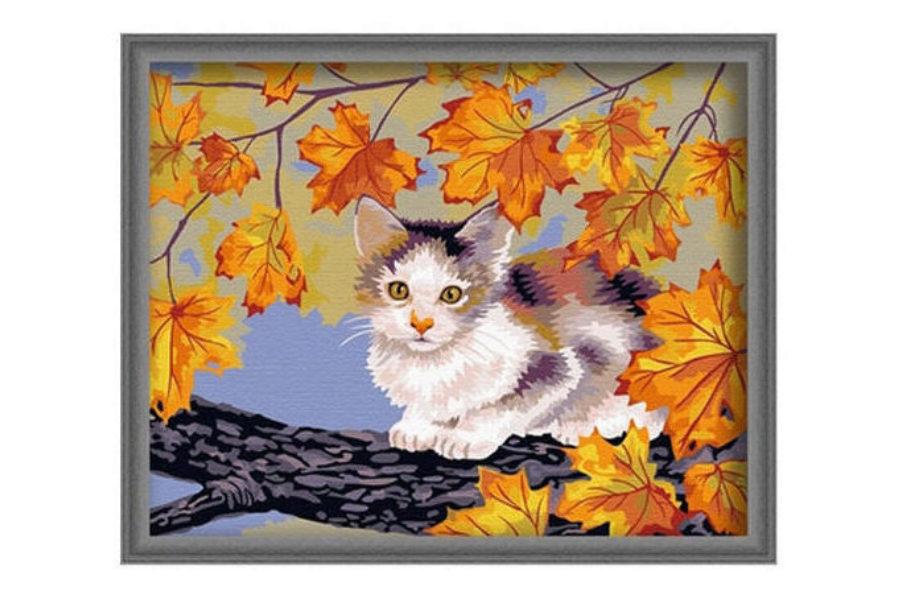 Раскраска по номерам Fresh Art Котенок на дереве G031, 40 ...