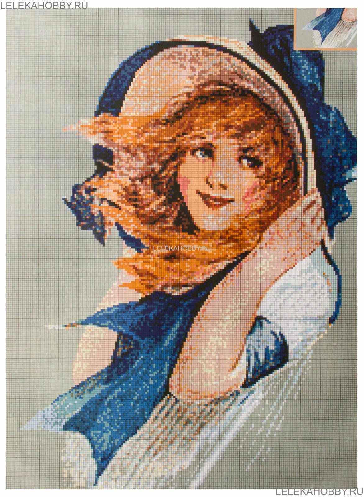 схема вышивки девочка в лесу
