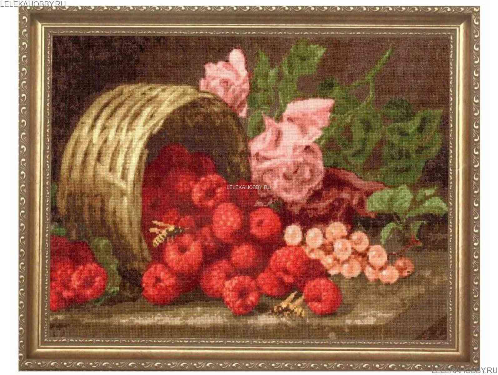 Роза и малина вышивка
