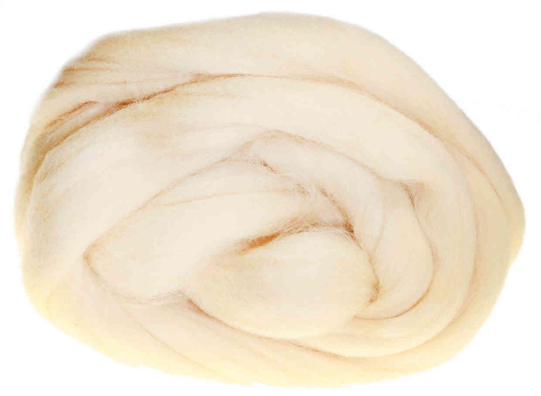 Шерсть для валяния лента гребенная 100% шерсть Троицкая полутонкая  шампанское (1082), 100г