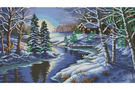 Вышивка крестом зимний пейзаж 66