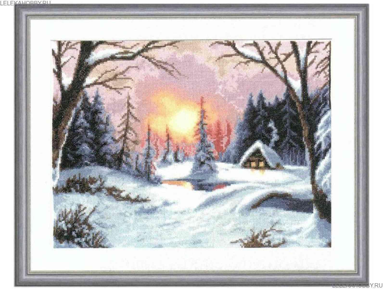 Зимний закат схема вышивки крестом 100
