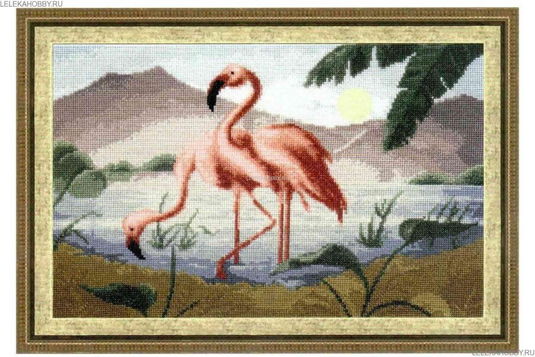 Розовое фламинго вышивка крестом