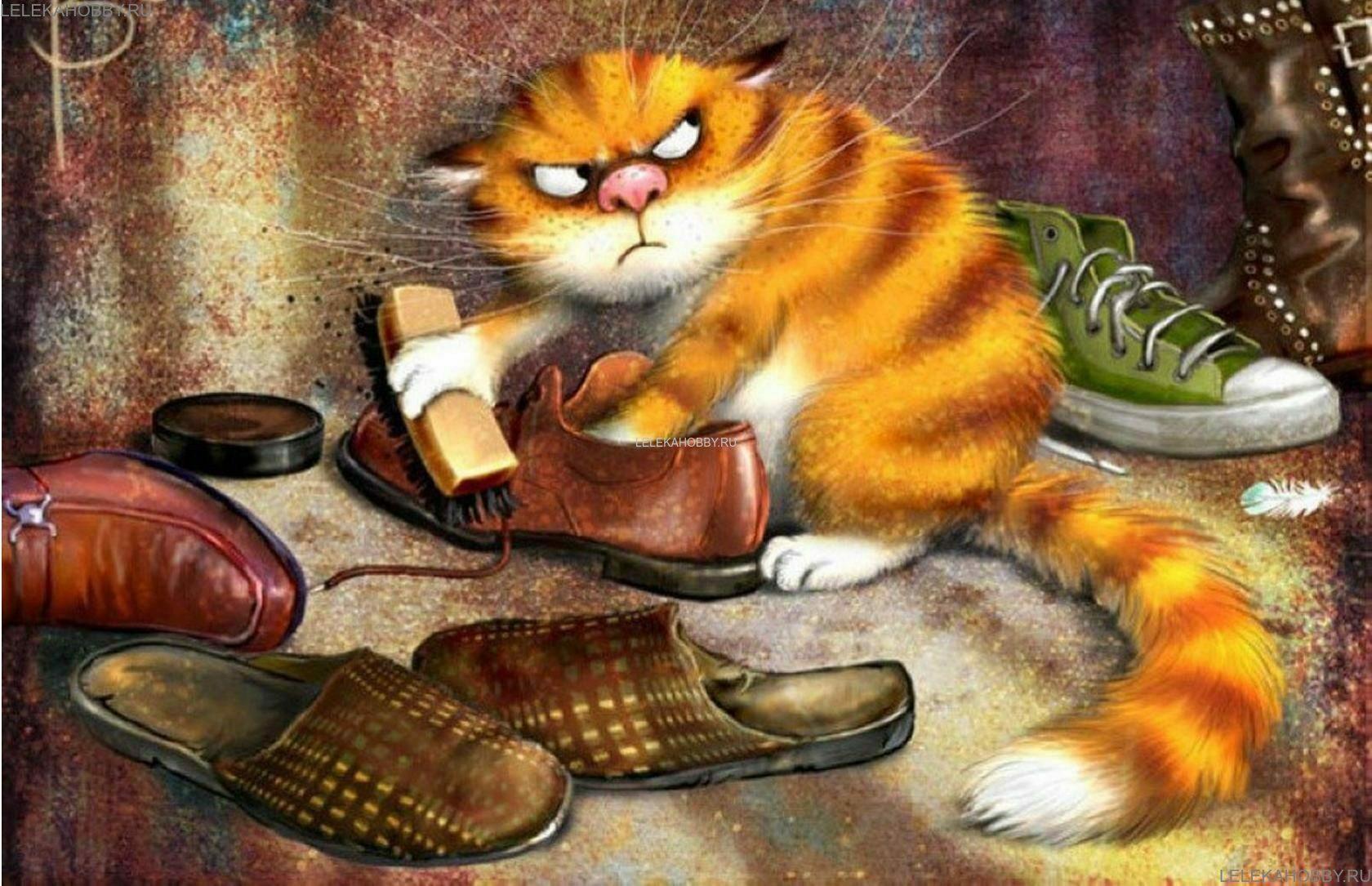 Открытки коты рисованные