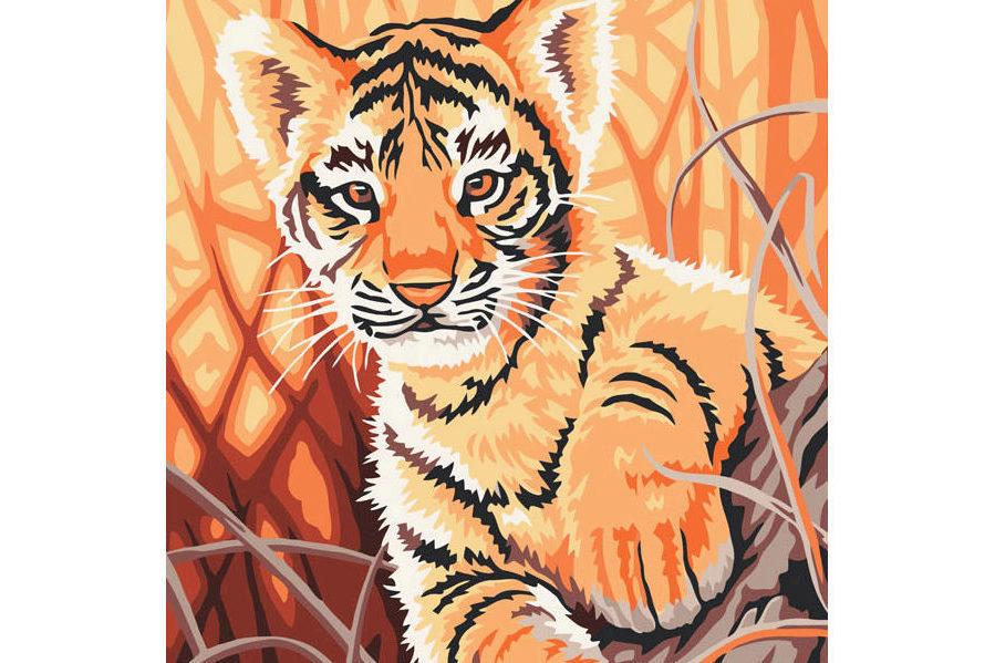 Раскраска по номерам БЕЛОСНЕЖКА Тигренок в джунглях 217-CE ...