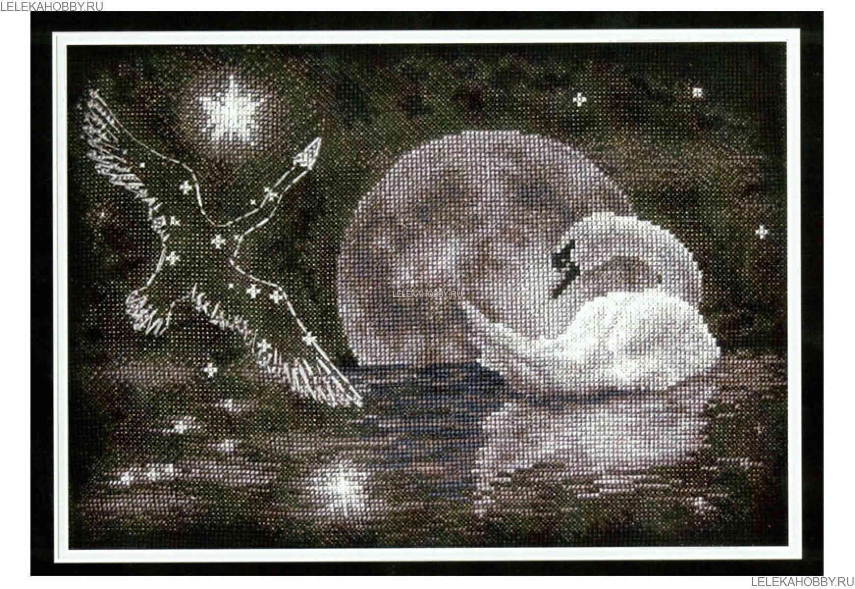 небольшая схема вышивки крестиком лебеди