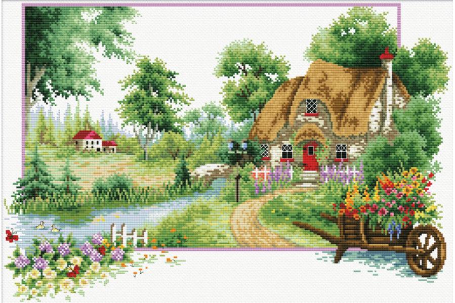 Набор вышивки крестом деревня