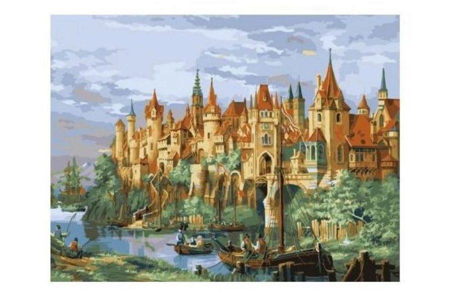 Раскраска по номерам Menglei Город-замок ММС046, 50*65см ...