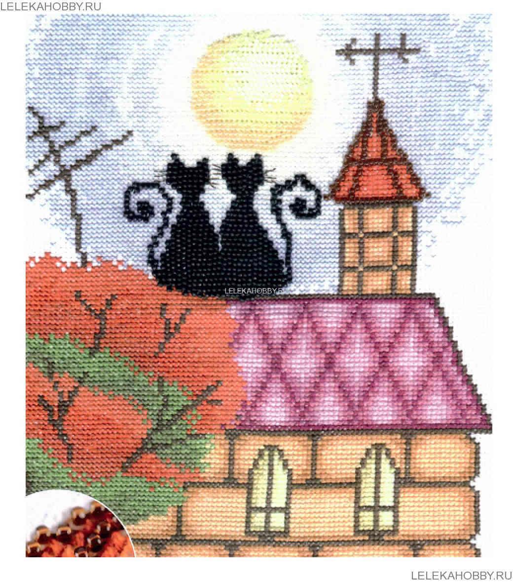 Вышивка крестом коты на крыше