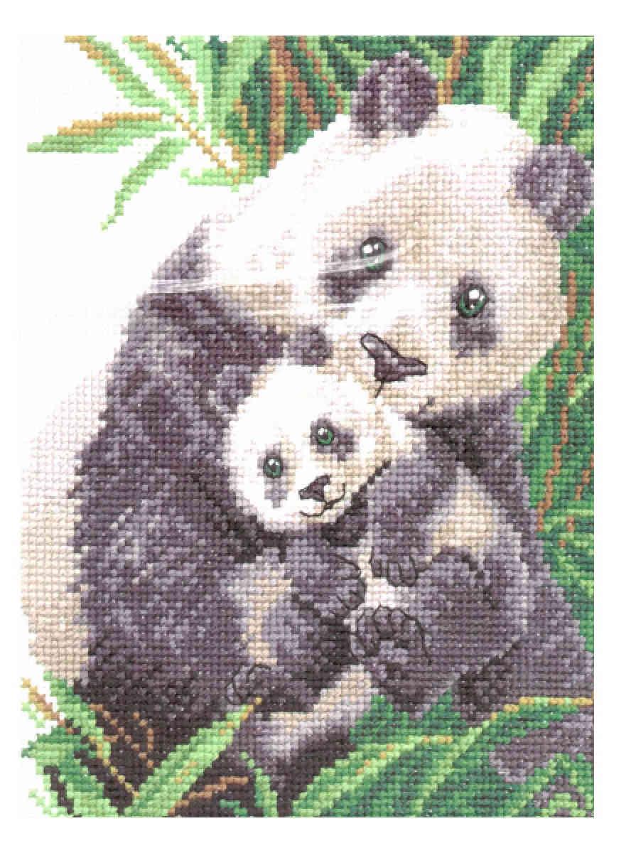 Вышивка крестиком панды 97