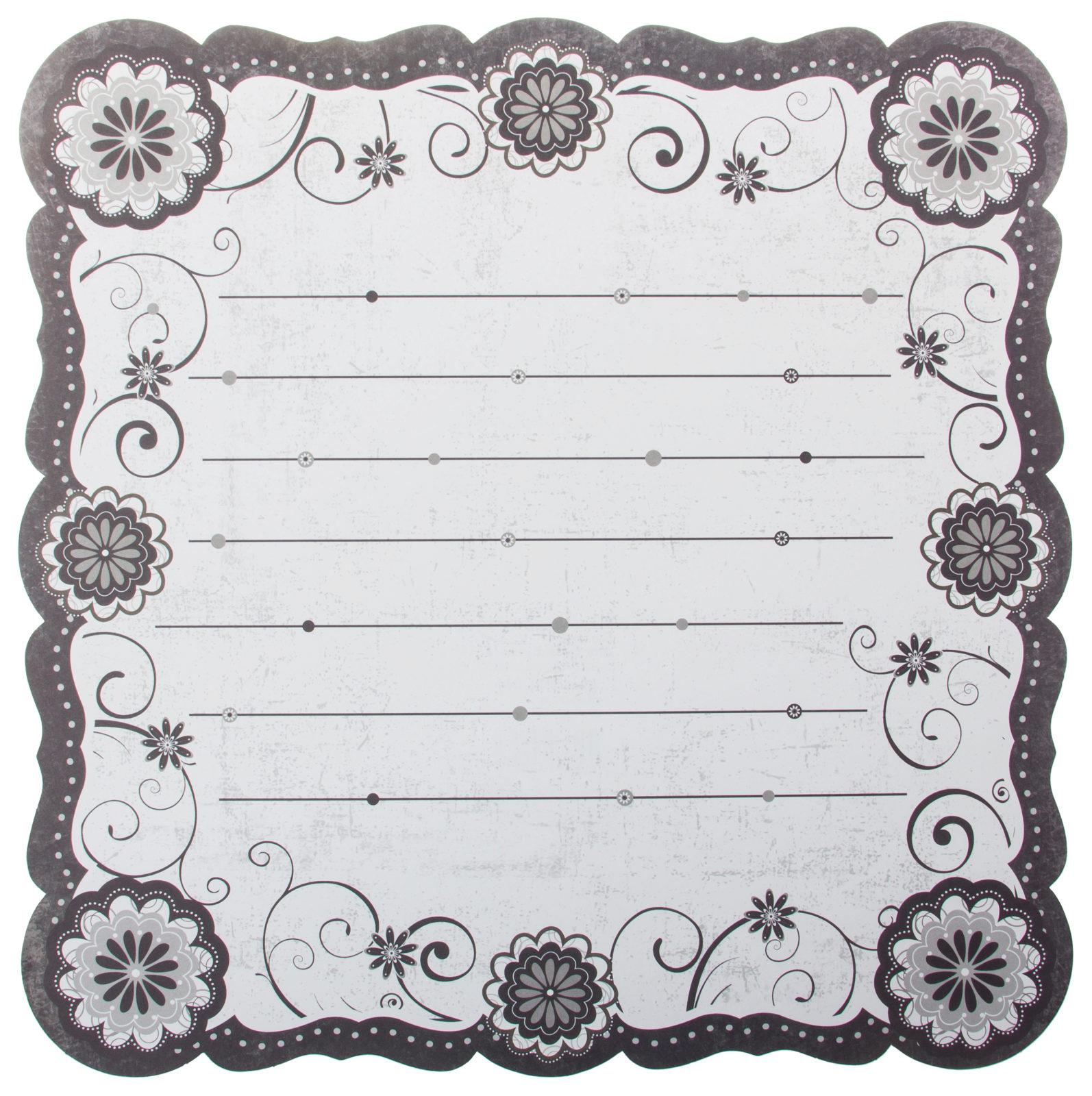 Чёрно белый шаблон для открытки