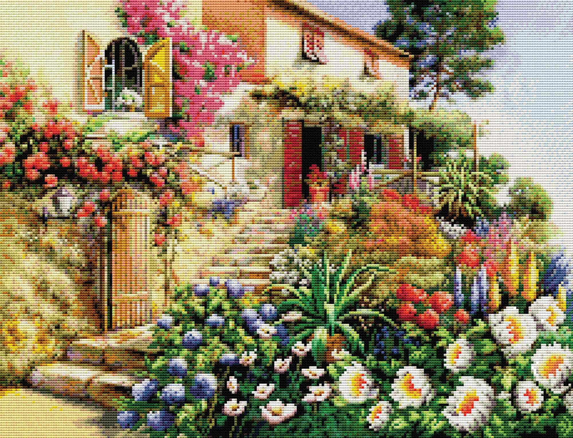 Вышивка крестом домики дворики улочки 98