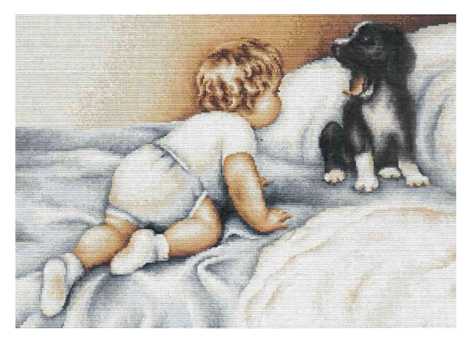 Вышивка девочка с животными