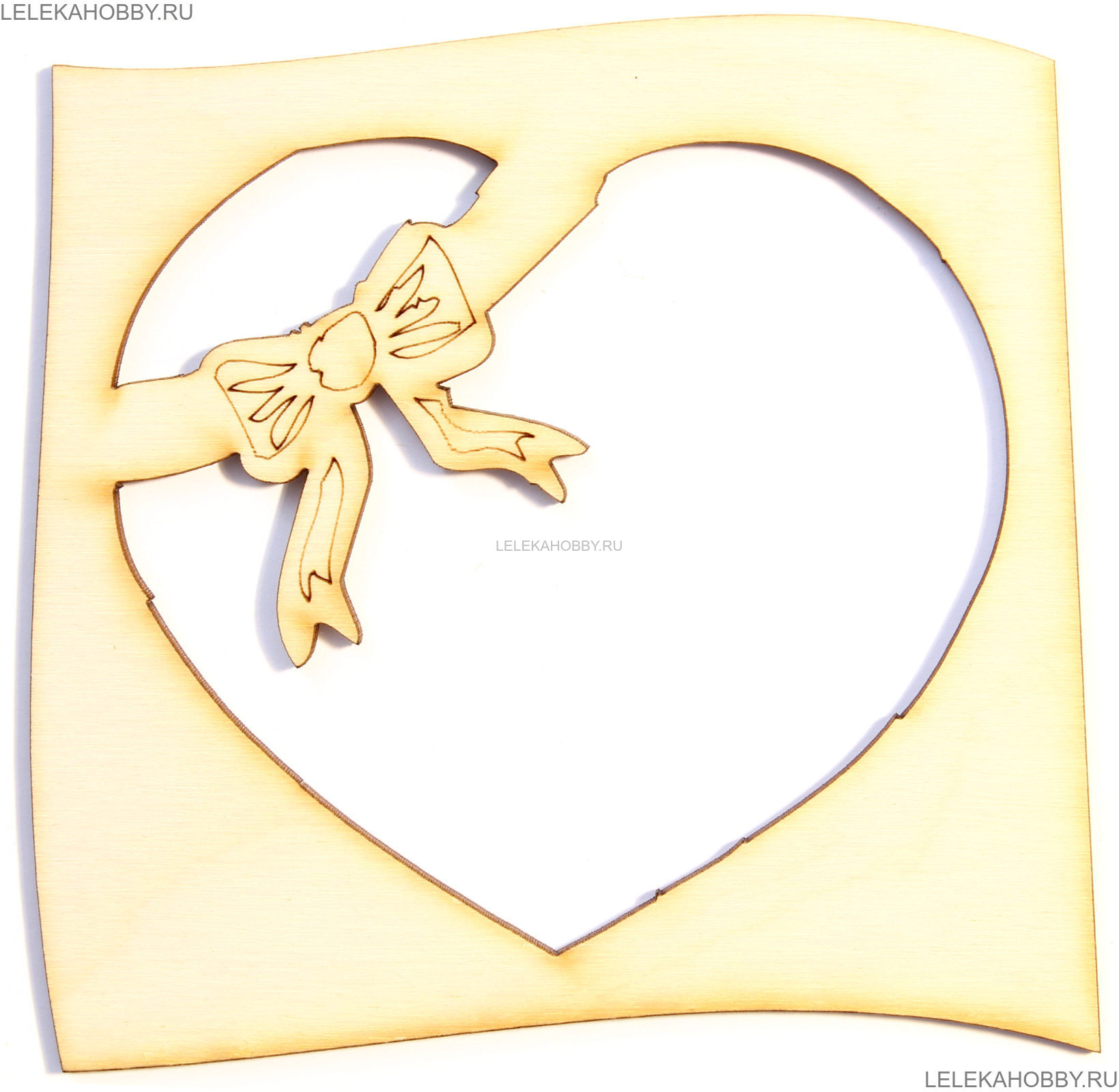 заготовка деревянная рамка сердечко с бантом 1111см 12236