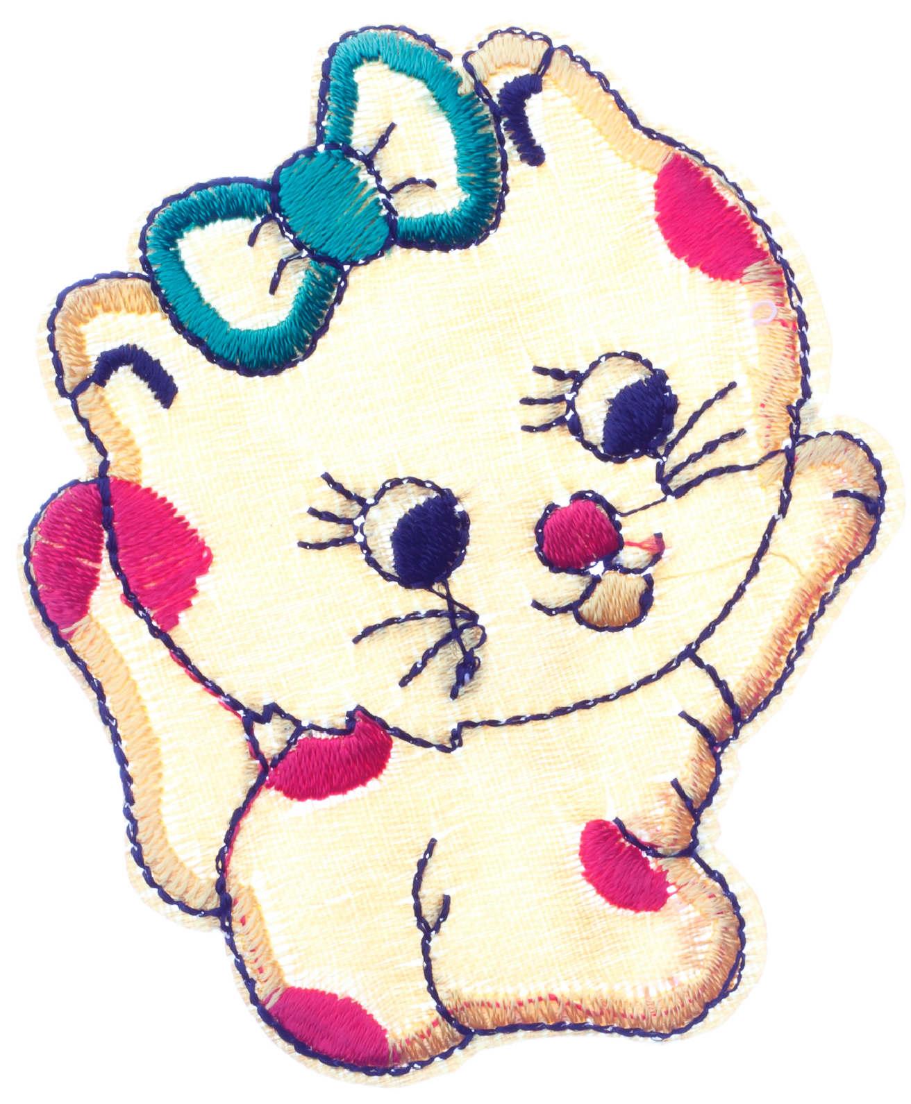 Термонаклейка кошка с бантиком, 7,5*6,5см - L044-5