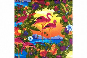 Ткань для пэчворка PEPPY FLAMINGO PARADISE BRIGHT, 100%хлопок, 50*55см